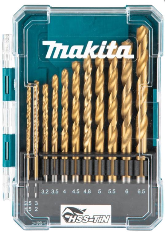 MAKITA 13-delni set HSS-TiN svedrov za kovino 1.5-6.5mmD-72855