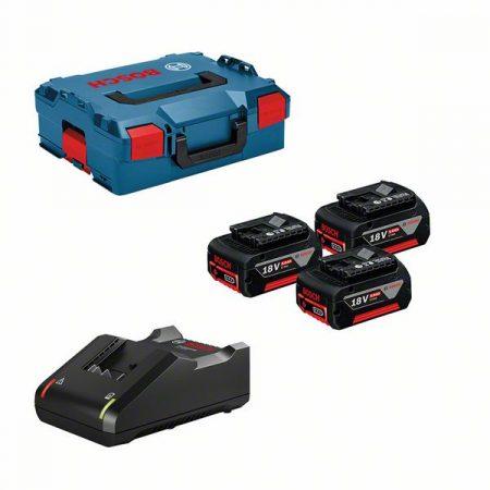Akcijski komplet: 3x AKU baterija 18V 5,0 Ah + polnilnik GAL 18V-40 + L-Boxx 13